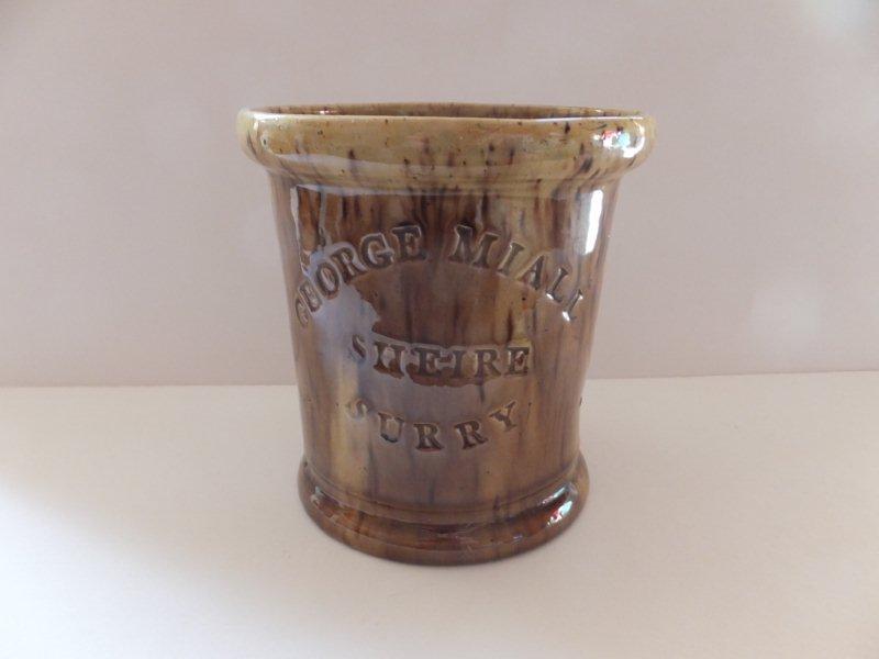 Tabacco jar dated on base 12 - 7 -1854