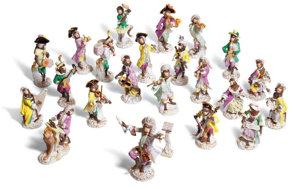 meissen ceramic monkey orchestra